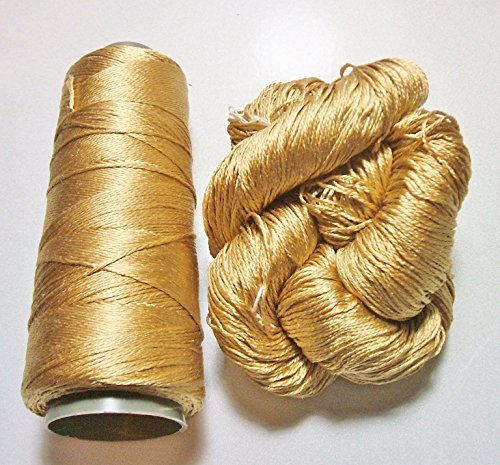 100% Pure Reeled Mulberry Silk Cobweb Lace Yarn 50 gm 400 Yard Skein Spun Gold 202 Lot J - Cone or Hank Silk Crochet