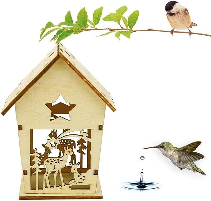 Gusspower Hecho a Mano Deco casa para pájaros, de Madera, comedero para pájaros, Casa de Aves al Aire Libre, 11x8.5cm: Amazon.es: Jardín
