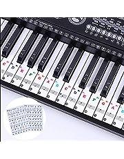 LABOTA 2 Pack piano pegatinas para 88/61/54/49/37 Key Keyboard - Pegatinas para pianos o teclados - transparentes y removibles