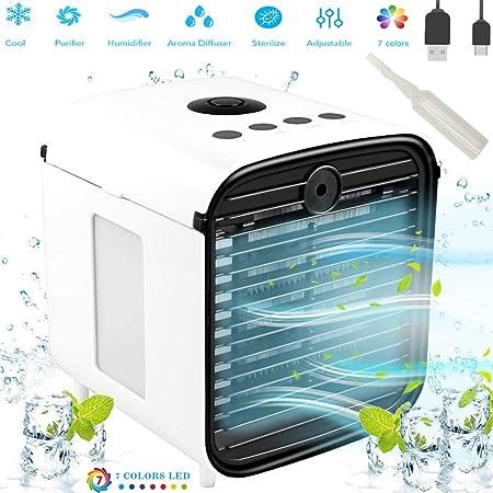 Nifogo Aire Acondicionado Portátil - Aire Acondicionado Móvi Portátil Ventilador Pequeño, USB Aire Acondicionado 3 en 1 Ventilador Purificador Humidificador para el Hogar/Oficina/Habitación: Amazon.es: Hogar
