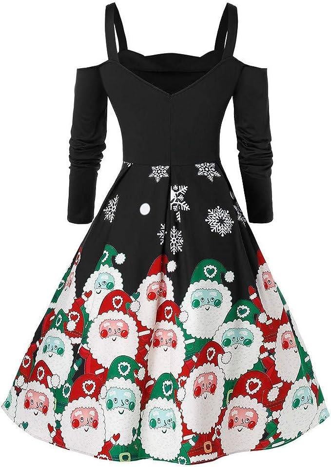 Donna Vestiti di Natale Lunga Maniche Abito Natale Vestito da Donna Stampa Natale Midi Abito Elegante Vintage Abiti da Santa Natale Party Festa Matrimonio Cocktail Swing Vestito