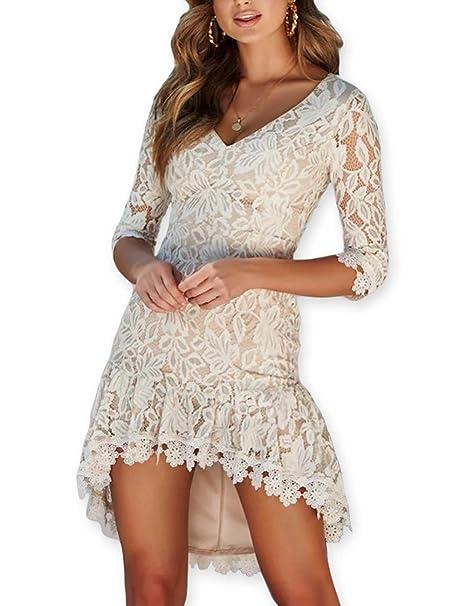 b1014767f75 AOOKSMERY Women Autumn Lace V-Neck Empire Waist 3 4 Sleeve Asymmetrical  Pleated Dress