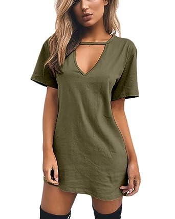 13fa9d6ab2a Celmia Women Summer Choker V Neck Mini Dress Solid Juniors Dresses Loose T- Shirt Army