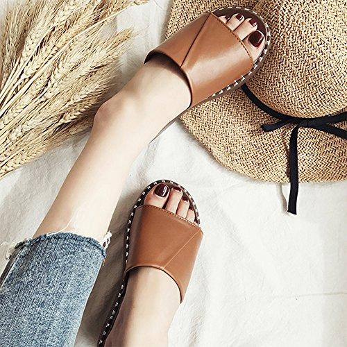 CHANCLAS SANDALS Sandalias de mujer sandalias de tacón alto elegante ( Color : Blanco , Tamaño : EU38/UK5.5/CN38 ) Marrón