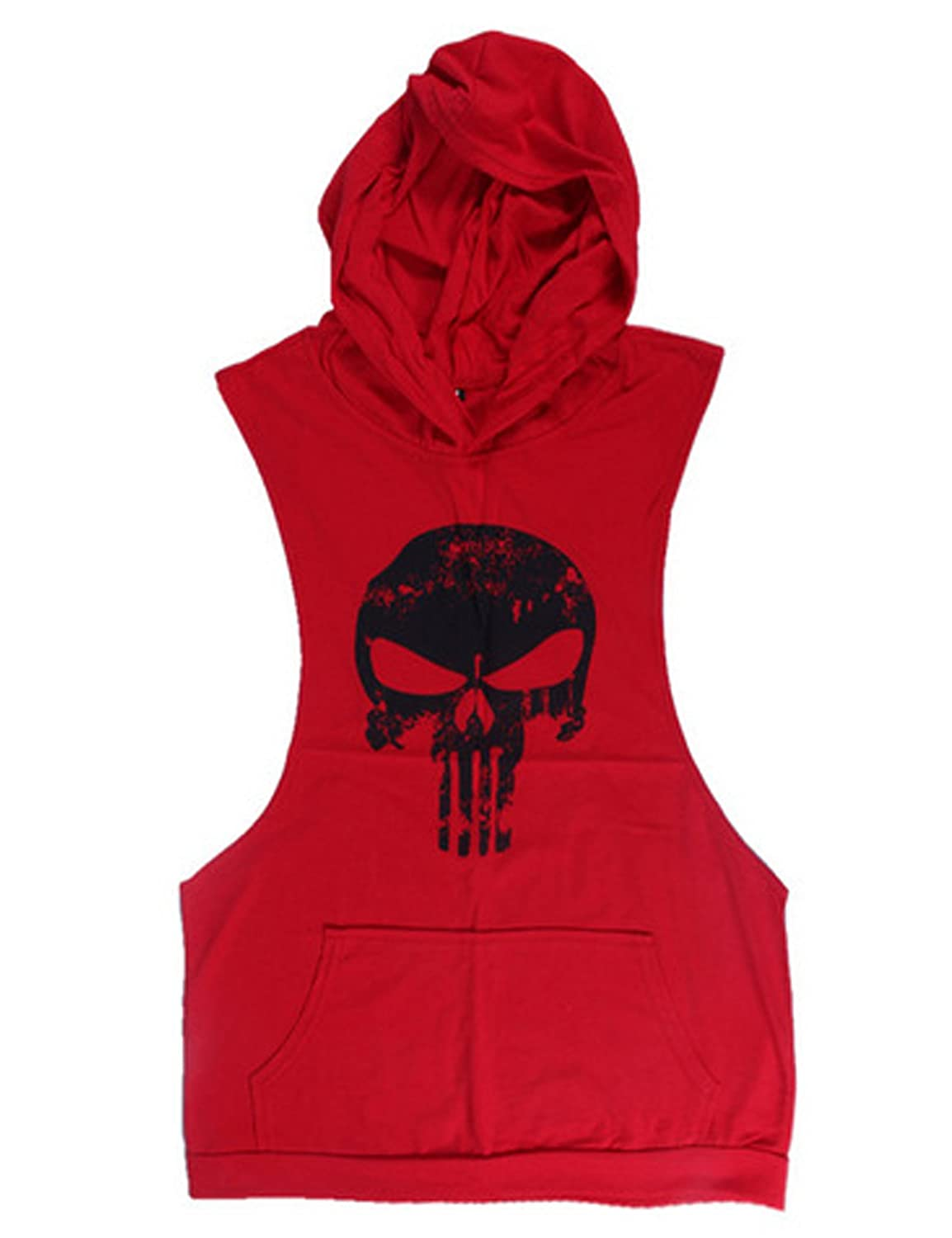 Bestgift Men's Skull Printed Sleeveless Cotton Hooded Tank Top BSGFNC0239