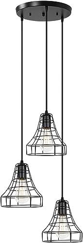 Farmhouse Light Fixture 3-Light Black Pendant Light Industrial Dining Room Lighting Fixtures Hanging for Kitchen Island Living Room Bedroom Hallway Bar