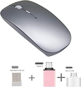 Rechargeable Wireless Mouse for Laptop - Azmall 2.4GHz Slim Optical Mouse with USB Nano Receiver and Type C Adapter, Silent Clicks, USB Mouse for MacBook Pro/Air, Computer, Notebook, PC