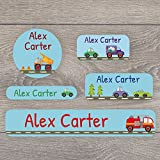 171 Iron on and stick on name label pack for children - A range of designs to choose from - Perfect for labelling uniforms, stationary, tupperware (Transport)