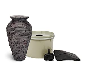 Aquascape Fountain Kit Stacked Slate Urn   Includes Water Basin and Pump