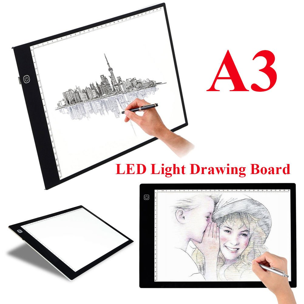 Tracing Box, Portable A3 Drawing LED Light Tracing Board Table Tablet Pad Artcraft, Animation, Sketching, Designing, Stenciling USB Powered with 10 Paper by Yosoo