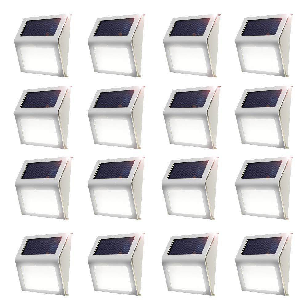 ELECCTV Solar Step Lights 3 LED Solar Powered Stair Lights Outdoor Lighting for Steps Paths Patio Decks Waterproof (16Pack)