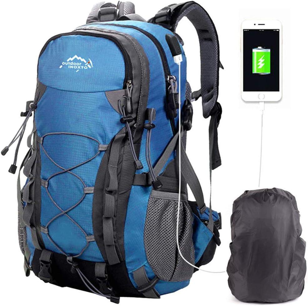 A AM SeaBlue Sacs De Trekking Voyage Grande Capacit/é Sacs /à Dos De Randonn/ée pour Femme Homme Les en Plein Le Camping Alpinisme Outdoor Backpack USB Sac /à Dos Multifonction R/ésistant /à leau 40L