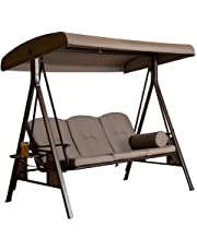 SORARA Swing Chair | Brown | 3 Persons | Outdoor Canopy Cushioned Outdoor Bench Bed Seat Hammock