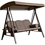 SORARA Garden Patio Swing Chair 3 Persons Seater Swinging Hammock Brown | Canopy Outdoor Cushioned Bench Bed Seat