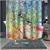 UniTendo 3D Retro Style Print Waterproof Polyester Shower Curtain with 12 Hooks for Bathroom Decor,Mildew Free,72 x 72 inches, Owls on The Tree.