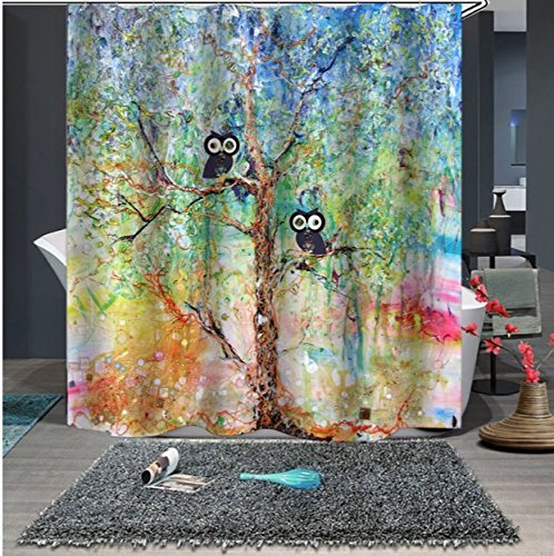 UniTendo 3D Retro Style Print Waterproof Polyester Shower Curtain with 12 Hooks for Bathroom Decor,72 x 72 inches, Owls on The Tree. (Shower Curtain Owl)