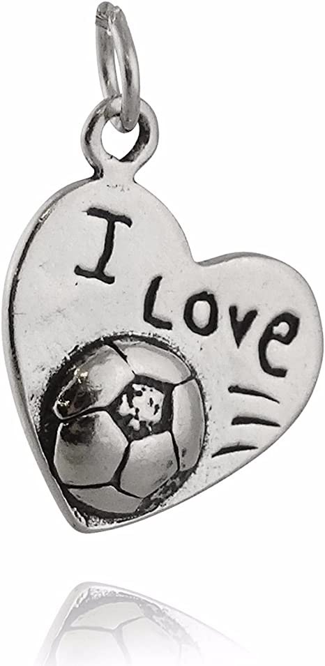 Heart Football Charm Sterling Silver Antiqued I