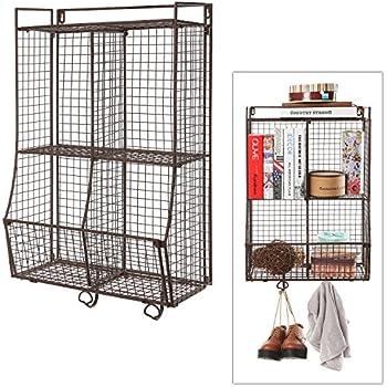Wall Mounted / Collapsible Brown Metal Wire Mesh Storage Basket Shelf  Organizer Rack W/ 2