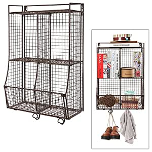 Amazon.com: Wall Mounted / Collapsible Brown Metal Wire Mesh ...
