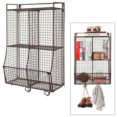 Wall Mounted / Collapsible Wire Mesh Storage Basket Shelf Organize