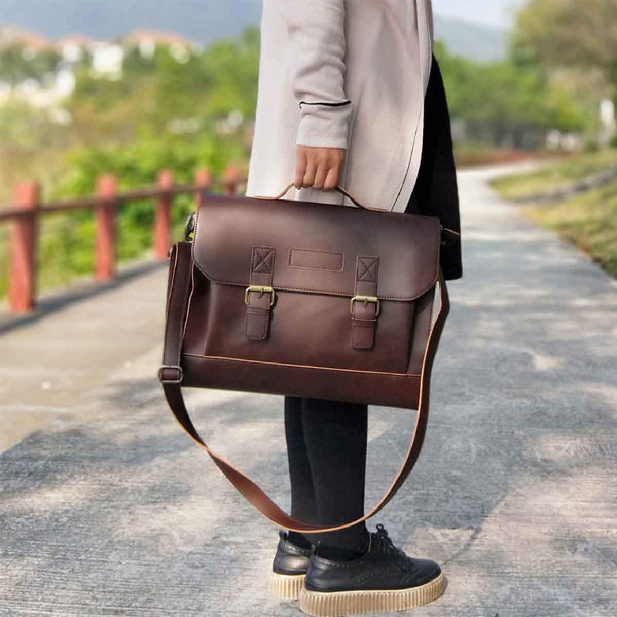 Brown JAKAGO Retro Satchel Leather Briefcase Handbag 13.3inches MacBook Laptop Bag Messenger Shoulder Bag with Updated Shoulder Strap for Men Women