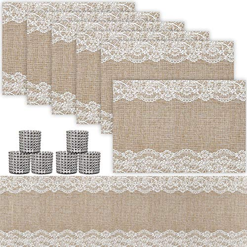 Trivetrunner: Decorative Modular Trivet Runner with 6 pcs Placemats Set Hot Pad, Heat-Resistant Surface,for Hot Plates, Pots, Dishes (Jute & Lace Set 1 Table Runner + 6 placemats)