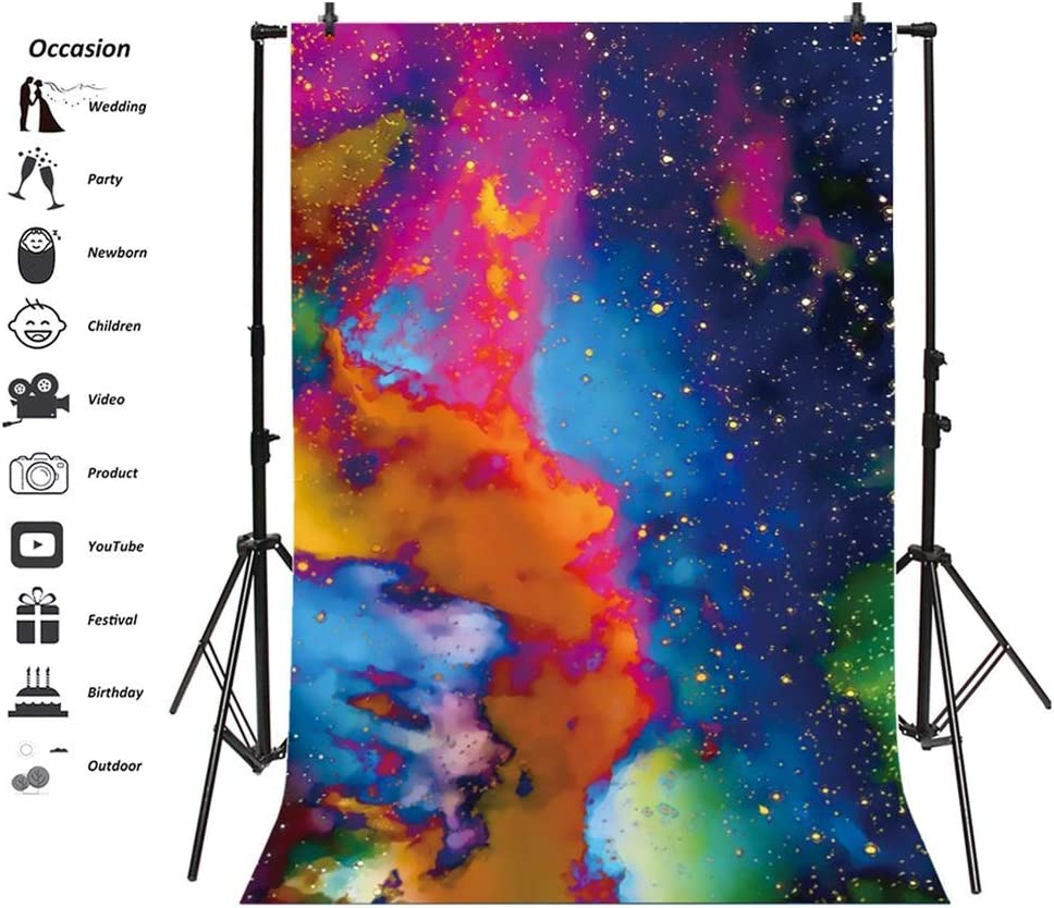 Abstract Nebula Backdrop 6.5x8ft Polyester Colorful Starry Sky Mysterious Universe Photography Background Child Kids Baby Adult Portrait Shoot Oil Painting Wallpaper Studio Props
