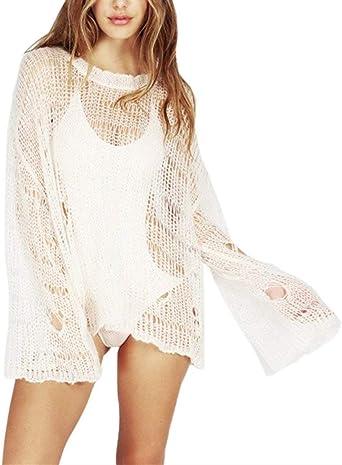 Transparente Un Tamaño para Bikini Mujer Sexy Top Tops Camisa Moda Suéter Suéter Cuello Redondo Ganchillo Blusa (Color : Blanco, Size : L): Amazon.es: Ropa y accesorios