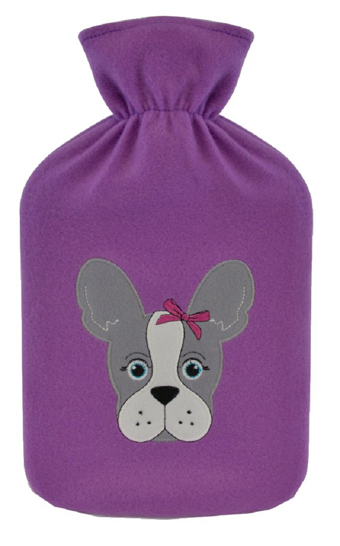 2 Litre Hot Water Bottle with Dog Design Fleece Cover ~ Pug or French Bulldog (French Bulldog)