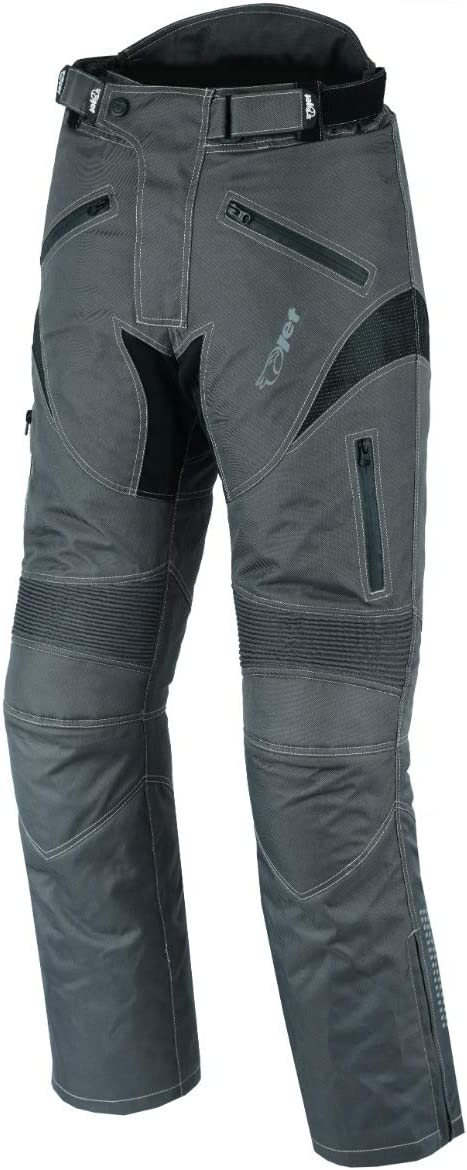 Grey, W50 L30 JET Mens Motorcycle Motorbike Textile CE Armoured Waterproof Trousers Pants Protective Premium Touring