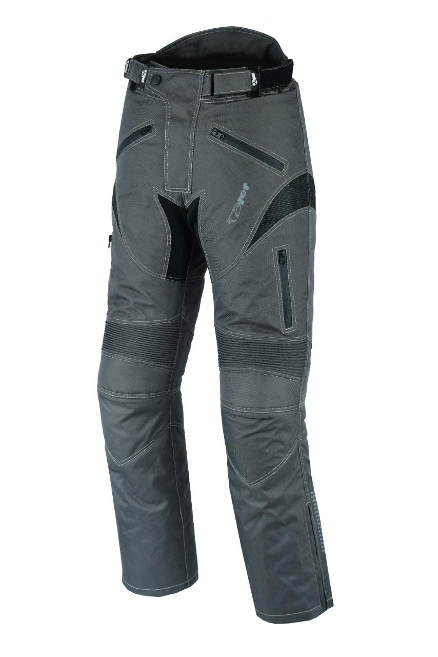 JET Mens Motorcycle Motorbike Textile CE Armoured Waterproof Trousers Pants Protective DYNAMO W40 L30, Grey