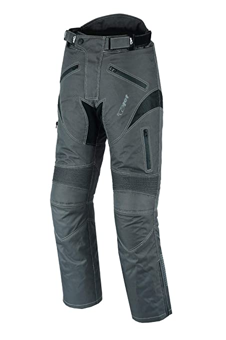 W48 L30, Black JET Motorcycle Motorbike Textile CE Armoured Waterproof Trousers Pants Zipper