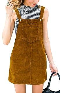 696d828e5e Salimdy Women s Corduroy Suspender Pinafore Bib Overalls Skirt Dress Pocket