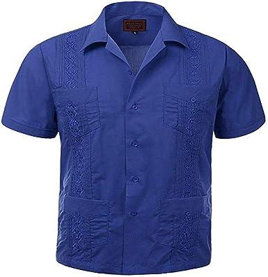 Maximos USA Mens Cuban Guayabera Button-Up Shirt Trend Setters Denim Blue