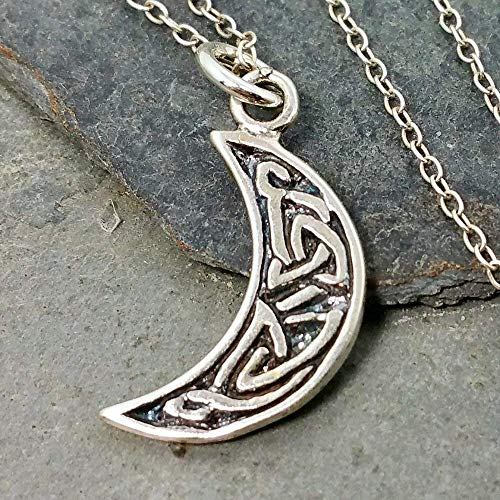 Celtic Crescent Moon Charm Necklace - 925 Sterling Silver, 18