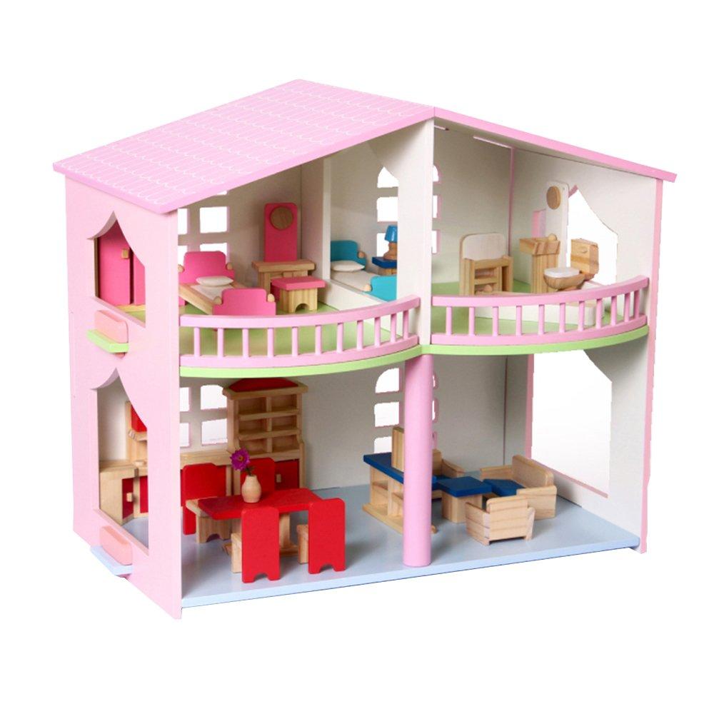 LINAG Kinder Modelle Stichsäge Manuelle Montage Täuschen Sie Vor Spielen Spielzeug Haus Häuser Holz Geburtstagsgeschenk DIY Minipuppen Modepuppen Puzzle Zubehör
