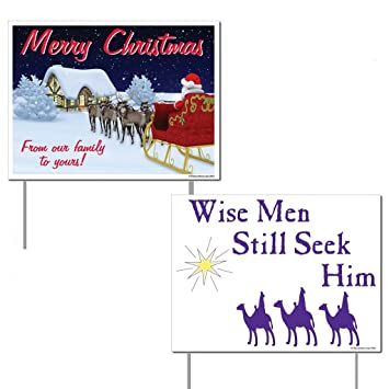 merry christmas religious yard sign set of 2 wise men still seek him2 different