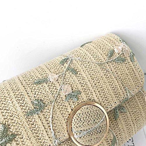 de Bolso de de de los de hombro mujeres bolsos Majome de pequeños Crossbody bordado mensajero Khaki flor del la femeninos la las pX6Fq88Wdn