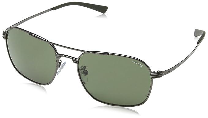 Police - Gafas de sol Rectangulares S8952 Rival 1, MATT GUNMETAL FRAME/GREEN LENS