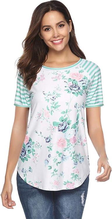 AOJIAN Womens T Shirt Short Sleeve Shirts Floral Print Cold Shoulder Tunic Blouse Tanks Vest Tops