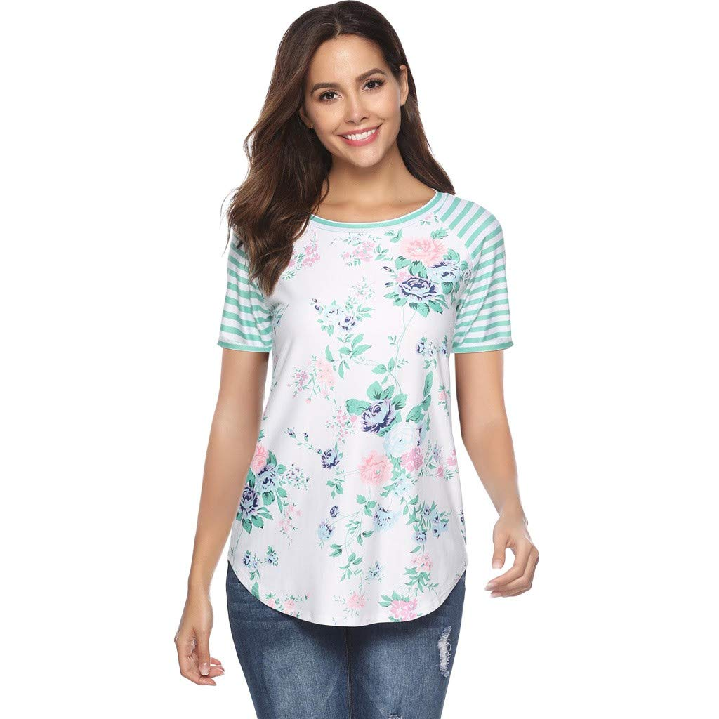 Keliay Womens Tops for Summer,Women Casual Floral Print Blouse Stripe Short Sleeve Shirt Round Neck Tops Green