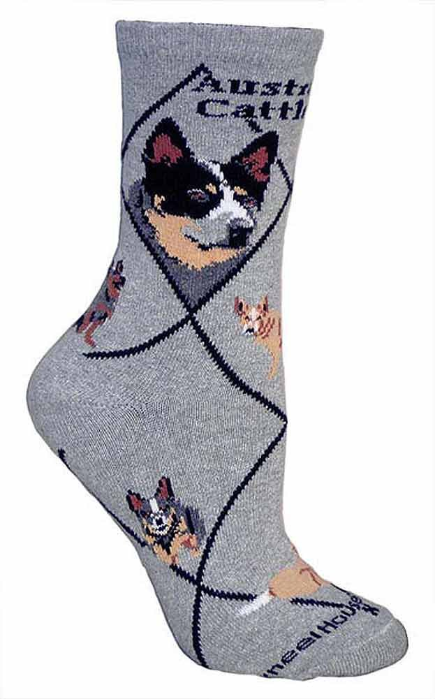 Australian Cattle Dog Animal Socks On Gray 9-11 by Wheel House Designs (Image #1)