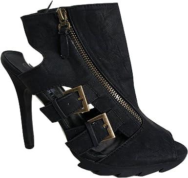 Crafted Black Leather Look Platform