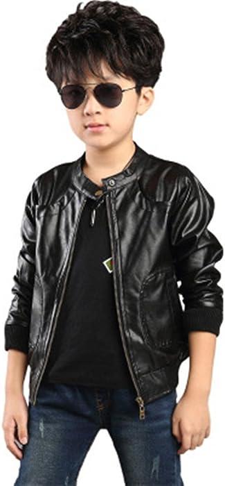 0705cfc667e7 Amazon.com  Boy s Trendy Stand Collar PU Leather Moto Jacket Leather ...