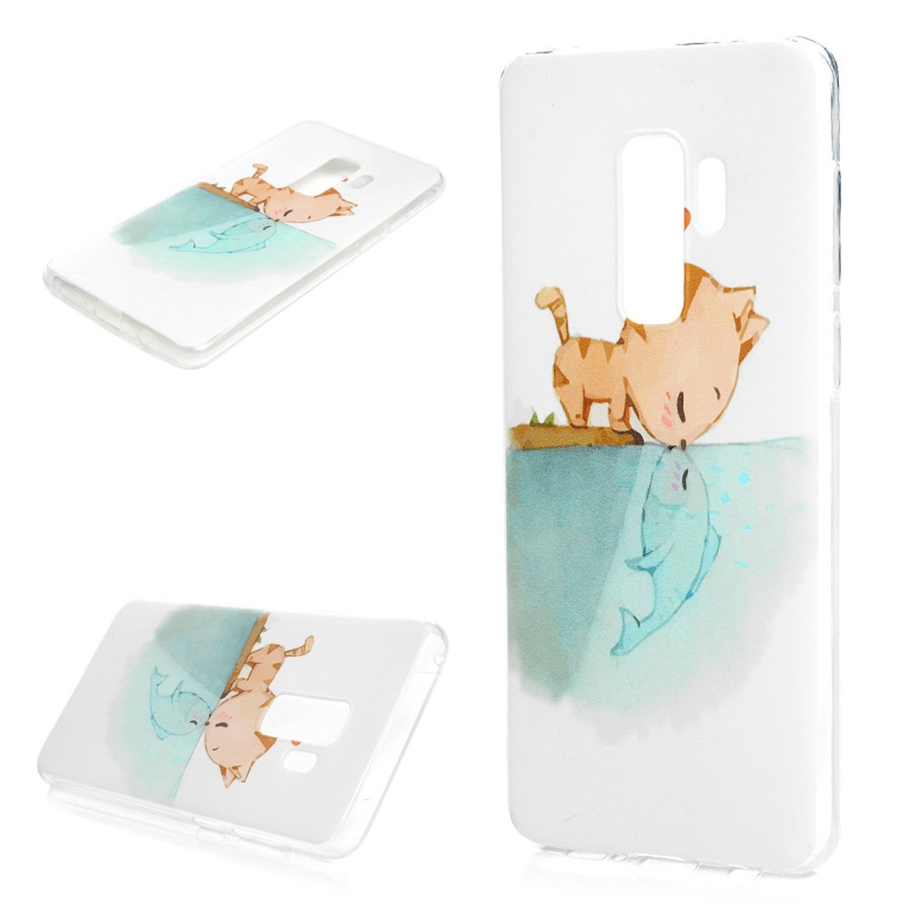 Galaxy S9 Plus Case, Printed Cat & Fish Love Cover Anti-Scratch Shockproof Bumper Ultra Slim Fit Soft TPU Rubber Protective Skin Shell Protector with Stylus Pen Dust Plug for Samsung Galaxy S9 Plus by YOKIRIN (Image #3)