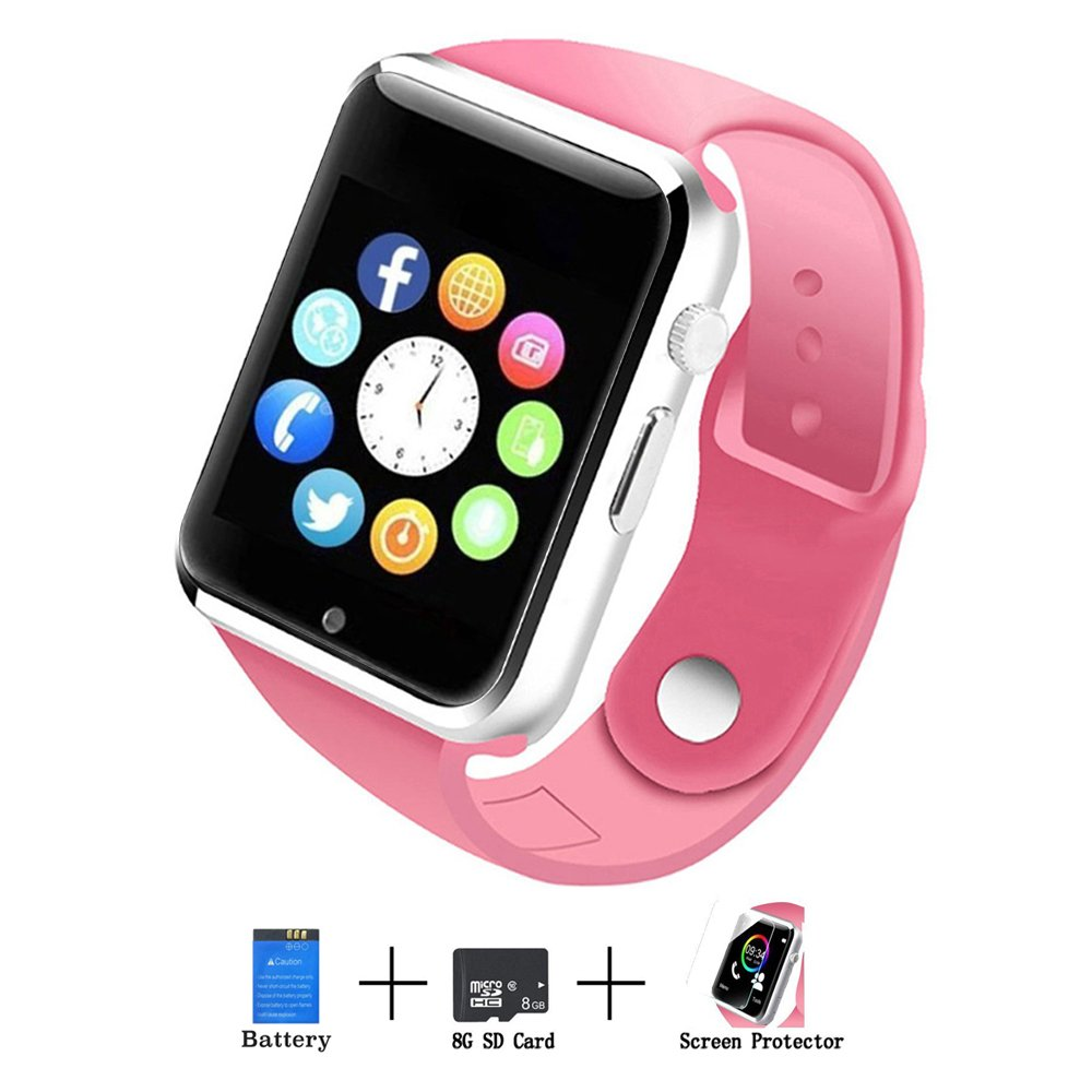 Axceed A1 Smart Watch, Bluetooth Touchscreen Smartwatch Phone with Camera Mic Texting Speaker Pedometer Social Media Notifications Sleep Monitor Music Player for Android Samsung Huawei iPhone (Pink)