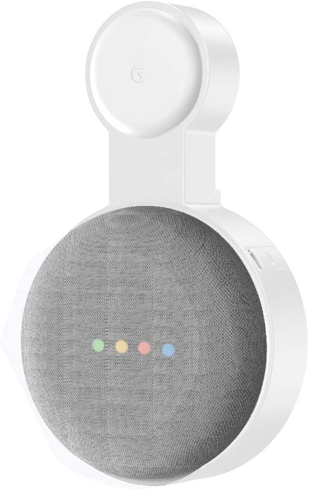 Baaletc Outlet Wall Mount Stand Hanger for Google Home Mini Voice Assistants Compact Holder Case Plug in Kitchen Bathroom Bedroom Hides The Google Home Mini Cord