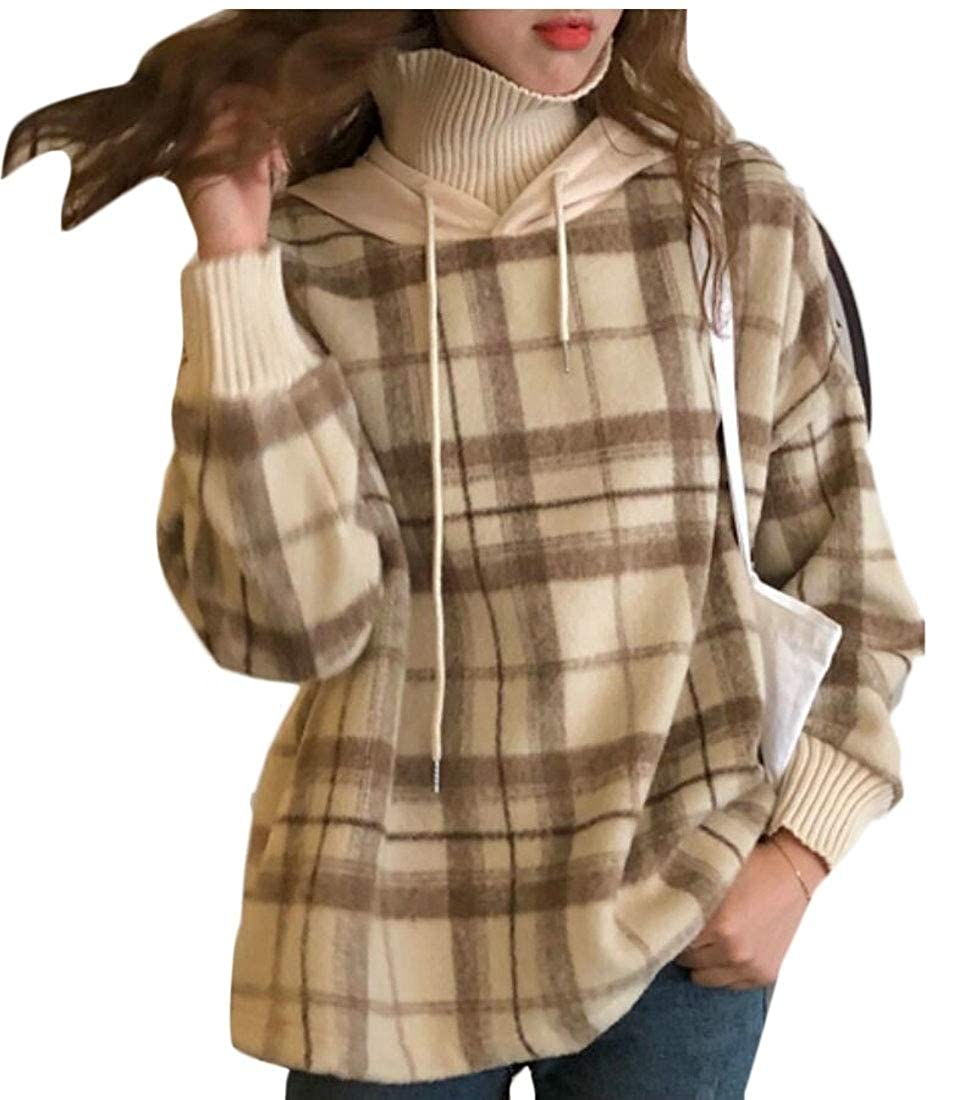 Keaac Womens Thick Plaid Printed Long Sleeve High Collar Pullover Outwear Sweater