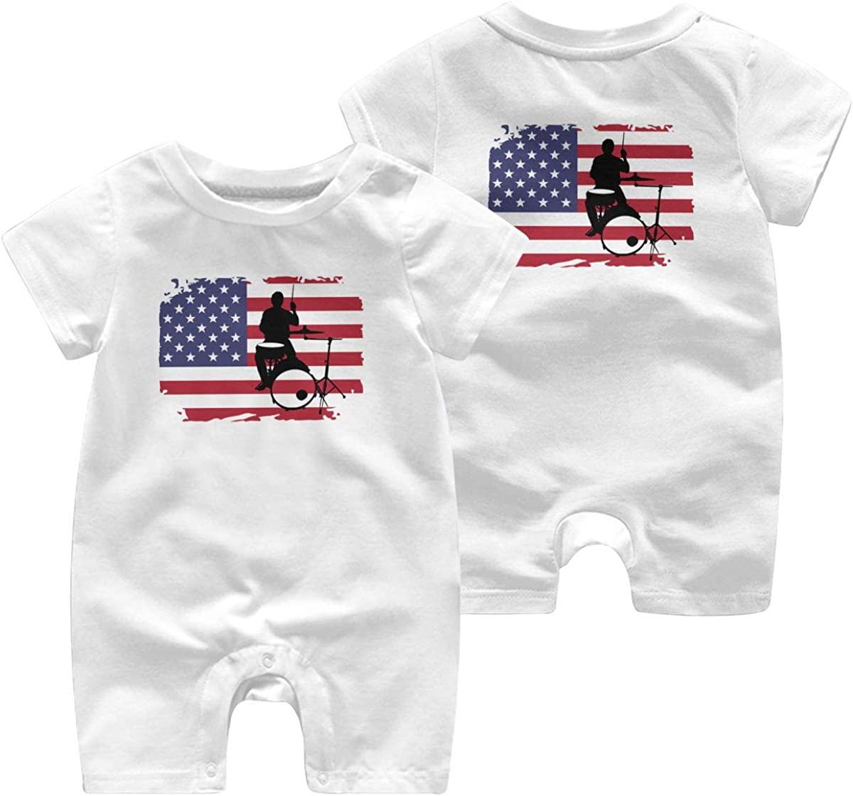 Mri-le1 Baby Girls Jumpsuit Drummer with American Flag-1 Toddler Jumpsuit