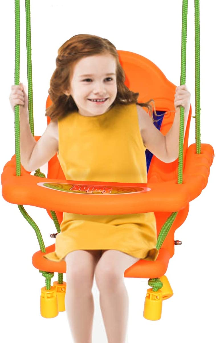 Indoor Toddler Swing Swinging Seat Chair with Cushion Heavy Duty Canvas Stylish Playroom and Nursery Decor Hanging Swings for Toddlers